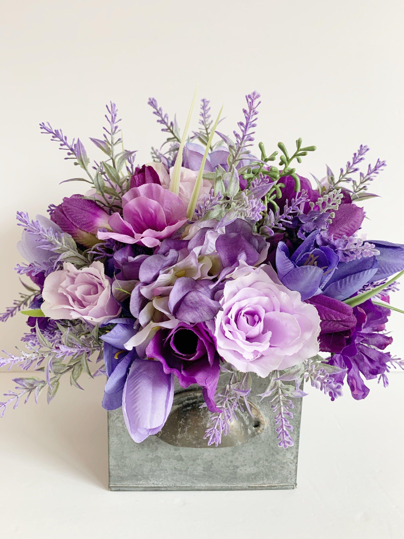 purple flower arrangement silk