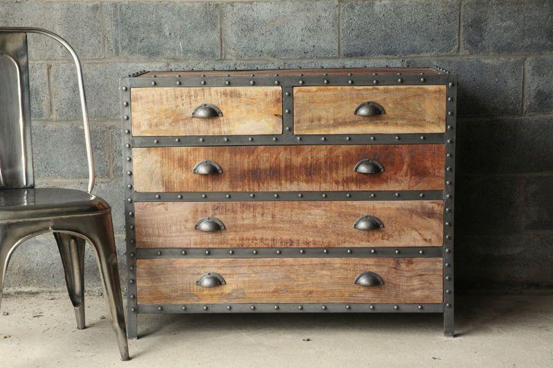 Restoration hardware style industrial chic wood dresser for Who manufactures restoration hardware furniture