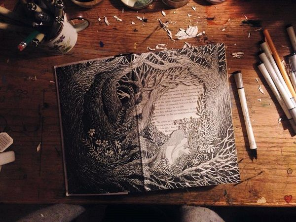 Gorgeous, Intricate 3D Illustrated Sculptures Made From Discarded Books - DesignTAXI.com