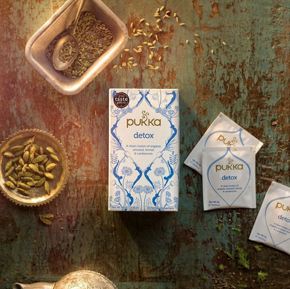 @pukkaherbs' #Detox tea, a delicious, clean fusion of #organic aniseed, fennel and cardamom – perfect for preparing the body for an #active #yoga #workout, and also supporting and rejuvenating afterward.