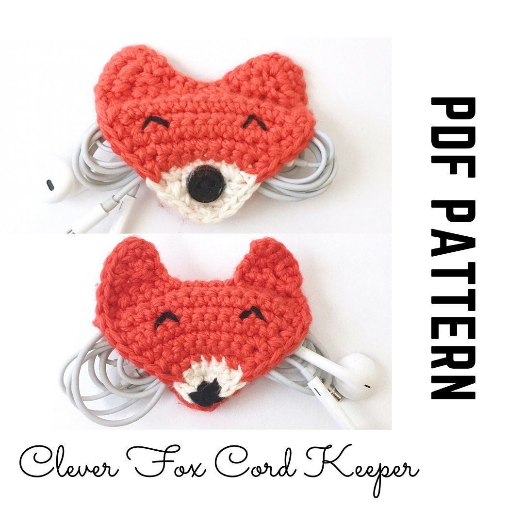 Earphone Holder Fox Crochet Pattern and Photo Tutorial with Snap or ...
