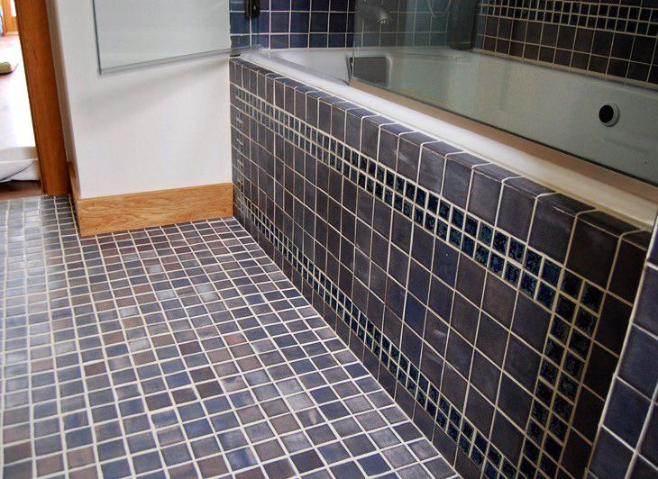 A handmade tile bathroom done with shades of blue in multiple sized tiles #bantamtileworks #bathroom #shower #handmadetile #handmadetiles #tile #tiles #blue #interiordesign #tiletuesday #tileometry #ihavethisthingwithfloors #ihavethisthingwithtiles #tileporn #tileaddiction #tileobsession by bantamtileworks