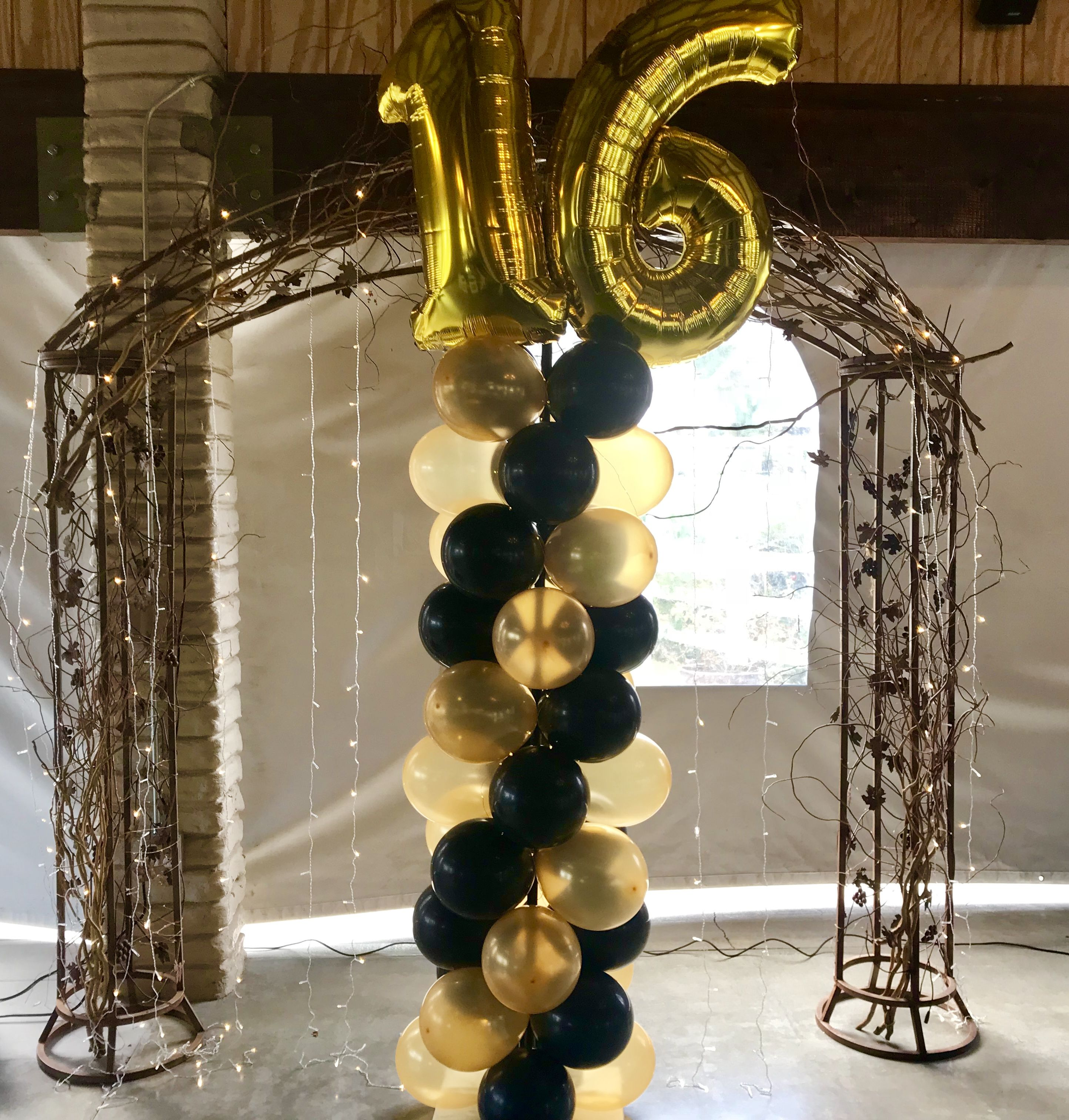 Sweet 16 Balloon Column Black And Gold Balloon Ideas Black And