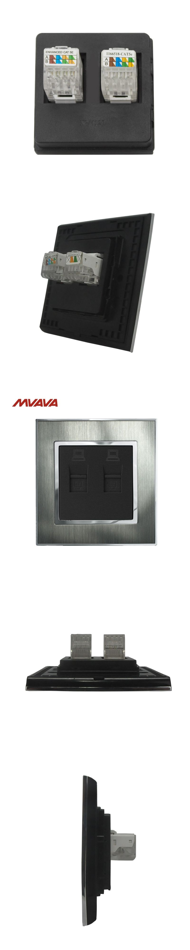 MVAVA Dual RJ45 Computer Jack Plug Port Wall Socket Double LAN ...