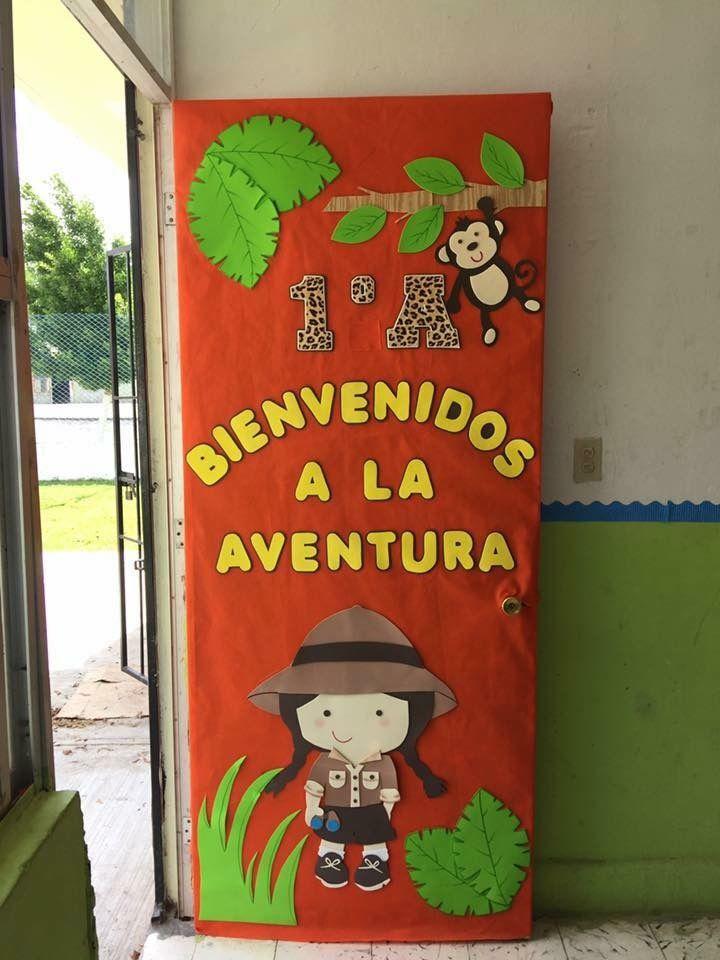 Decoracion de puertadcoracion de puerta recortes for Decoracion puerta aula infantil