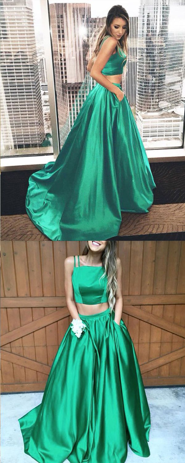 Two Piece Spaghetti Straps Hunter Satin Prom Dress Pleated with ...