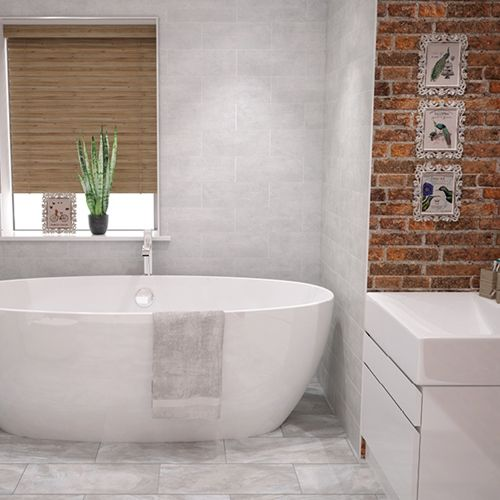 Concrete Whitewash Matt Tile 400x150mm Johnson Tiles