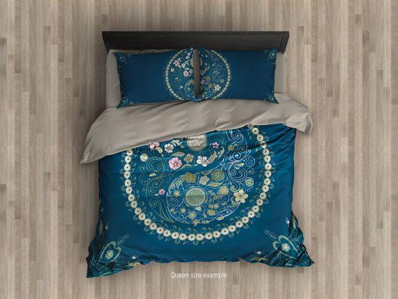 Mandala Duvet Cover Yin Yang Bohemian Bedding Blue Bedroom Etsy Single Bedding Sets Queen Bedding Sets Mandala Duvet Cover