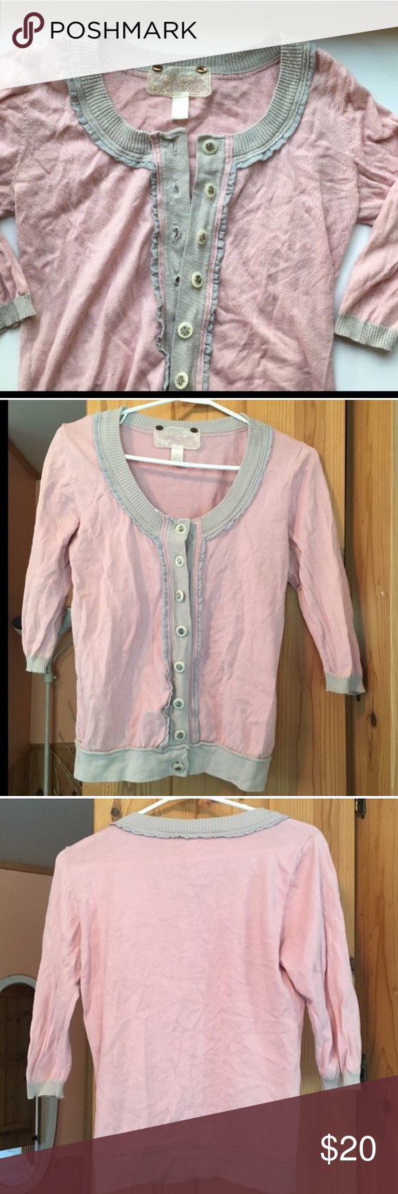 Pink and Gray nek&me Button Up Sweater Beautiful pale pink sweater ...