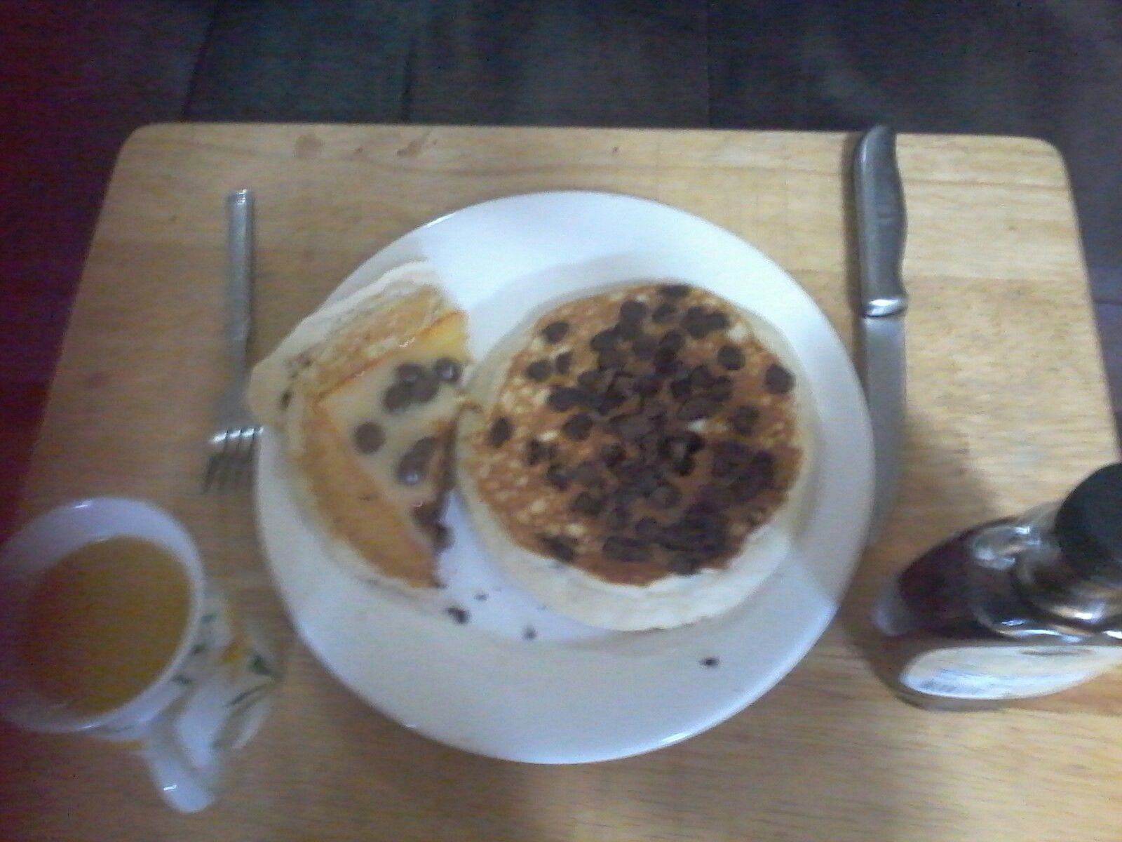Cheese pancakes with chocolate chips