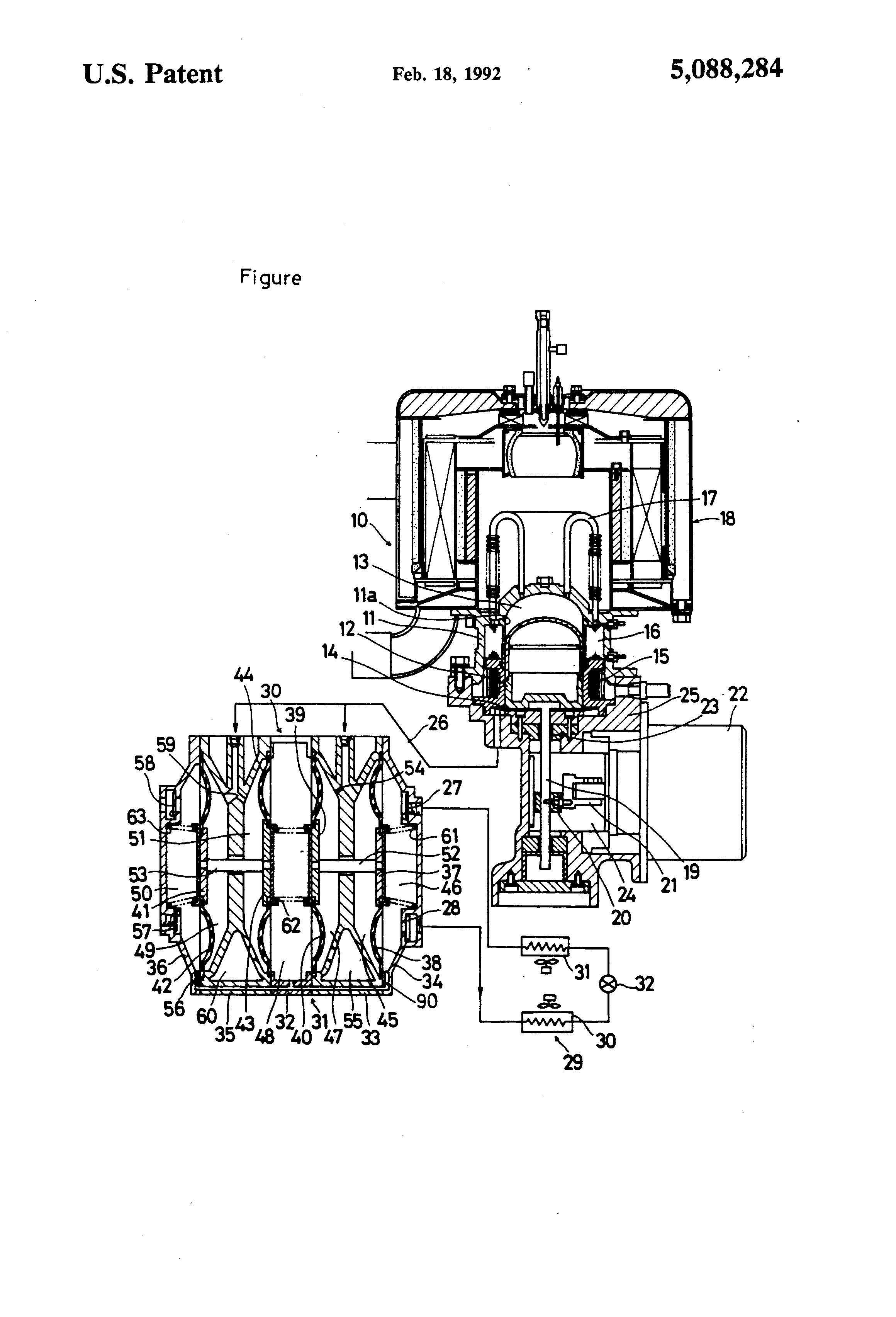 Compressor integral with Stirling engine US 5088284 A