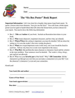 Chalkspot Fiction Book Report Six Box Poster Project from Chalkspot