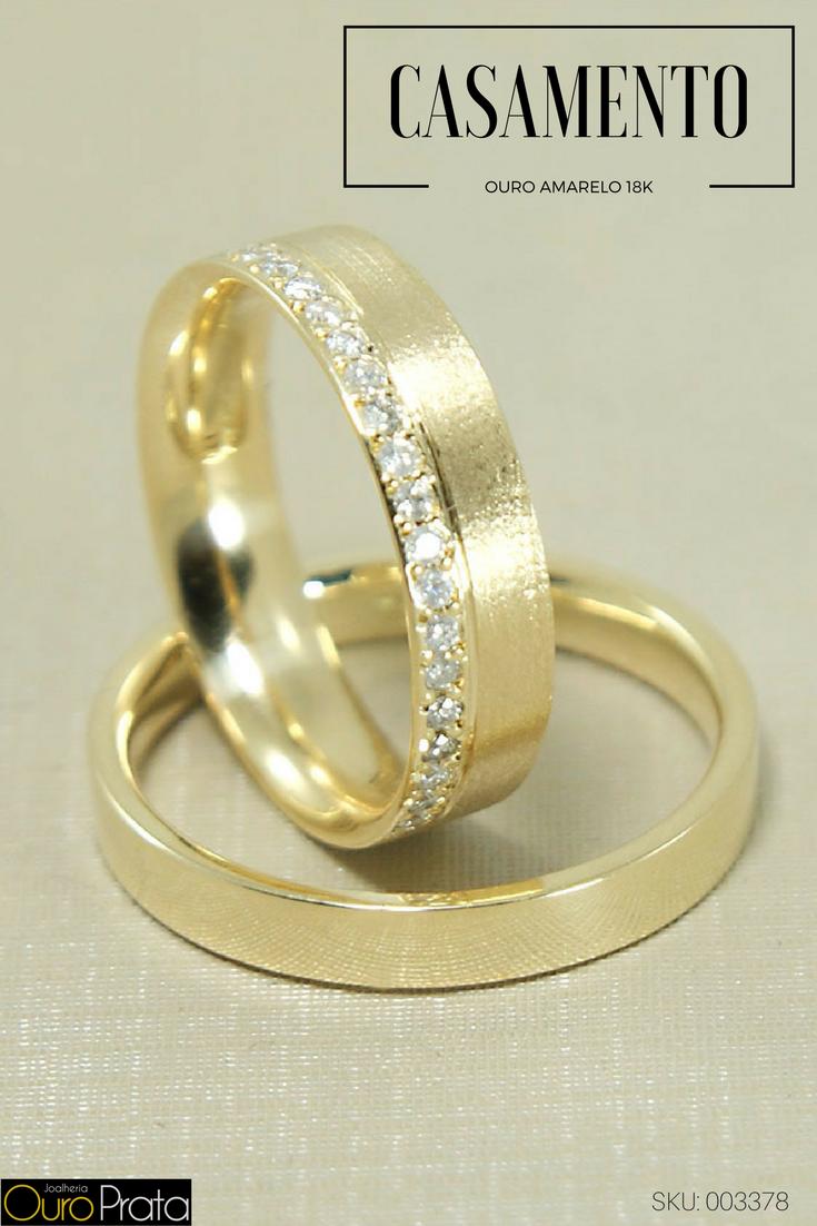 Aliança de Casamento em Ouro Amarelo 18K Reta com Brilhantes  alianças   aliançasdeouro  aliançasdecasamento 5c0b9f2801