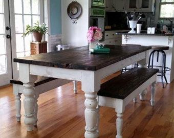 Antique Heart Pine Rustic Distressed Foot Farmhouse Table With Benches By Wellsworksfurniture