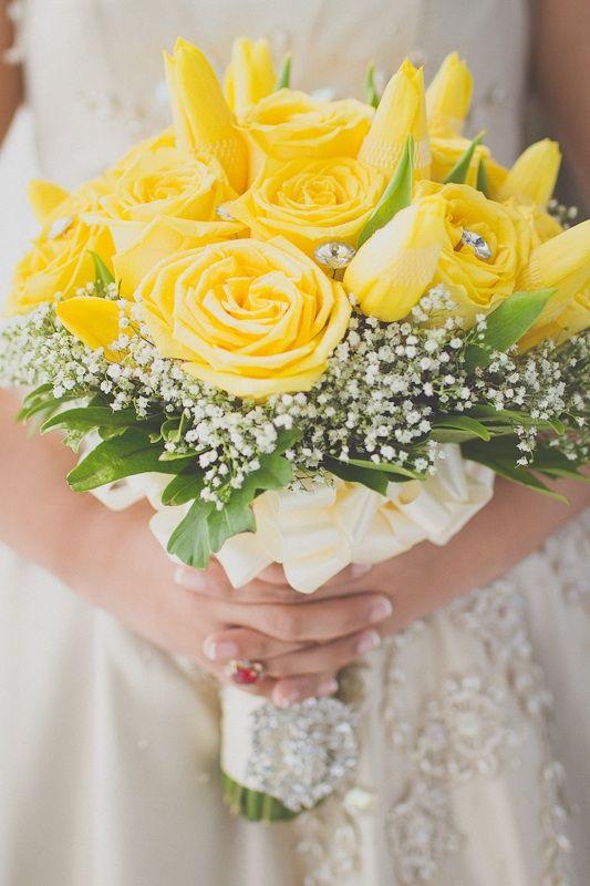 Gorgeous Wedding Bouquet Showcasing Yellow Tulips Yellow Garden Roses White Gypsophila Gorgeous Wedding Bouquet Wedding Flower Arrangements Wedding Bouquets