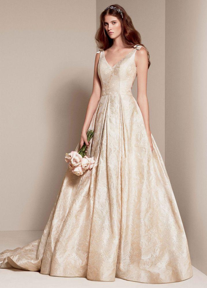 Champagne White Wedding Dress