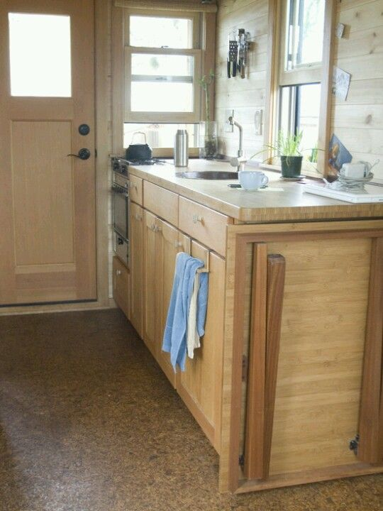 Kitchen With Fold Up Table And Additional Counter Space Tiny House Furniture Tiny House Kitchen Tiny House Cabin