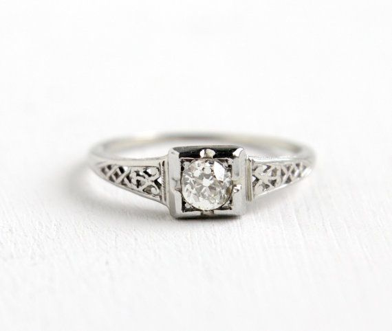 Antique 18k White Gold Art Deco 1 3 Carat Diamond Ring Size Etsy Antique Rings Vintage Vintage Jewelry Gold Art Deco