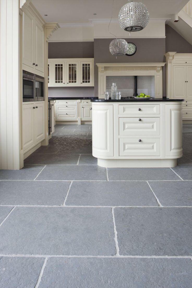 Taj Grey Brushed Grey kitchen floor, Slate kitchen
