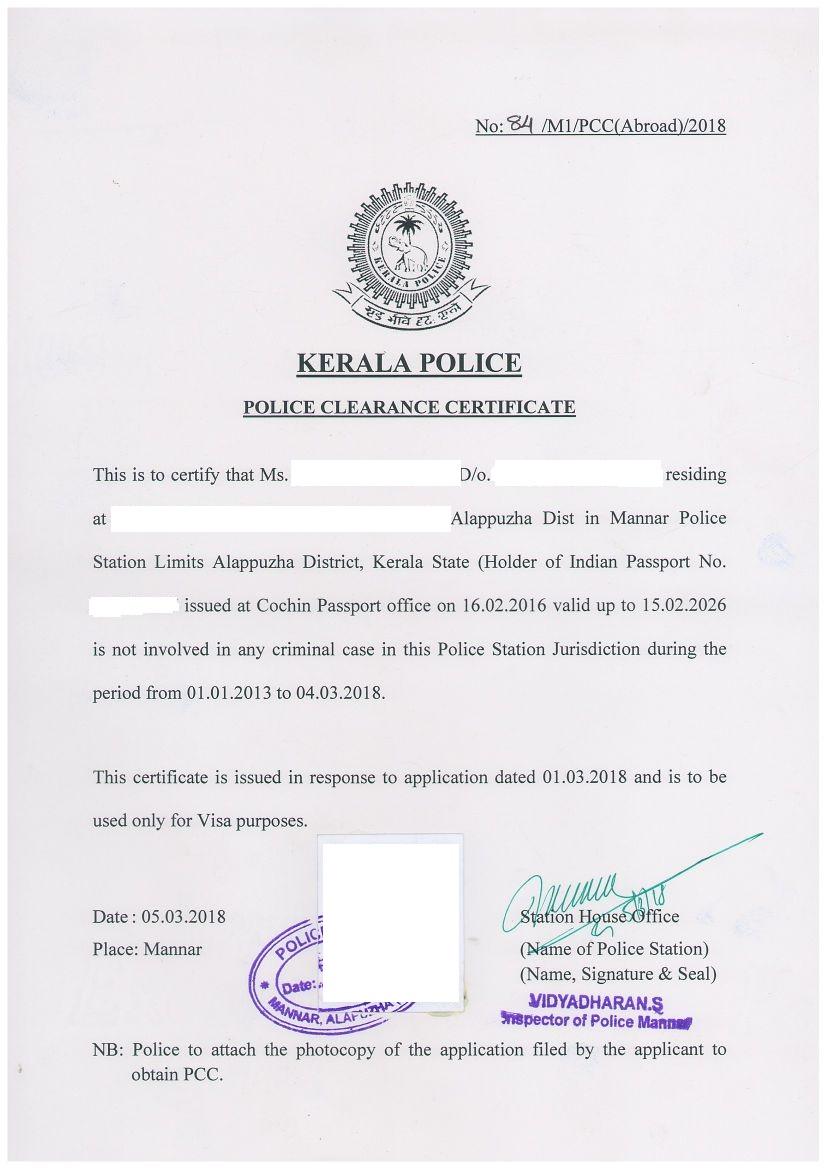 police certificate
