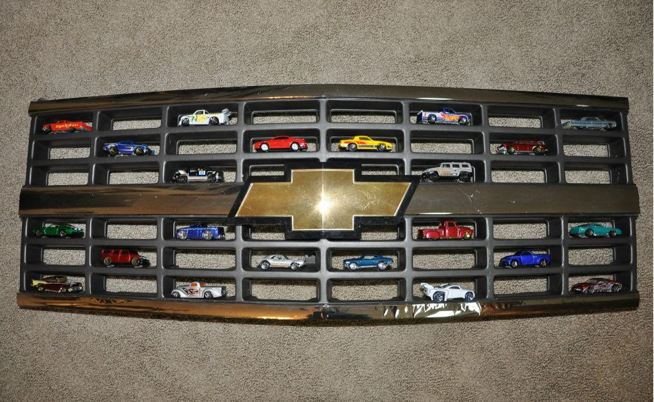 Displaying Hot Wheels In A Chevy Grille Perfect A Cool