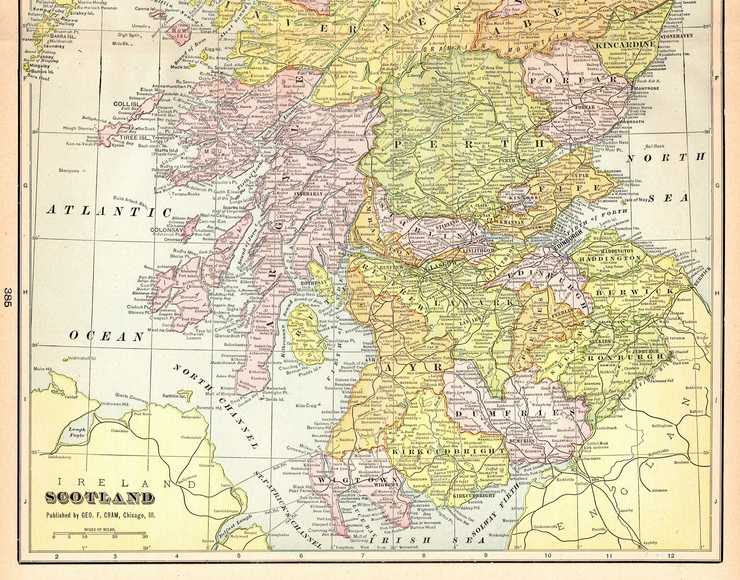 1903 Antique SCOTLAND Map Vintage Map of Scotland Gallery Wall Art ...
