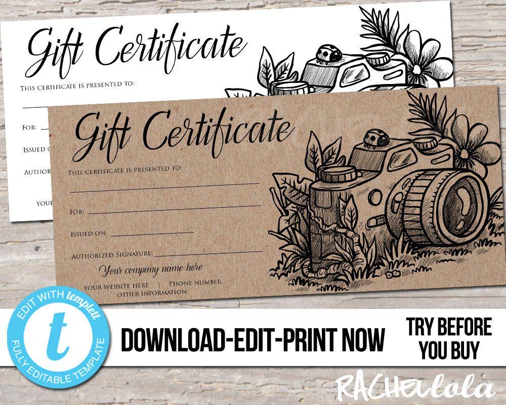 Editable Custom Printable Photography Gift Certificate Etsy In 2021 Photography Gift Certificate Template Gift Certificate Template Photography Gift Certificate Free photography gift certificate template