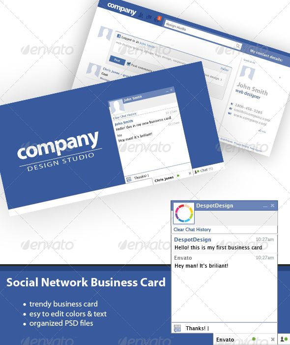 Social network business card business cards template and print social network business card photoshop psd clean bussines cards available here flashek Choice Image