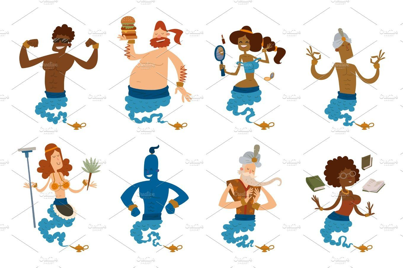 Cartoon Genie Character Magic Lamp Vector Illustration Treasure Aladdin Miracle Djinn Coming Out Isolated Legend Set Wish Magical Wizard Desire In 2020 Magic Lamp Vector Illustration Djinn