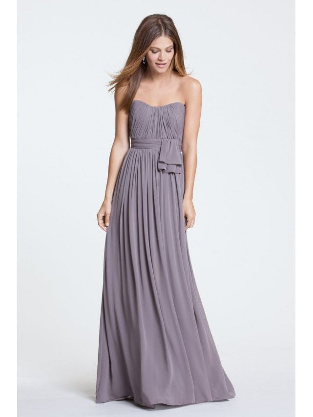 A-line Strapless Grey Chiffon Floor-Length Wedding Party ...