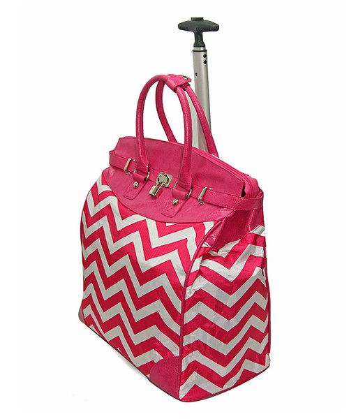 Take a look at the Fuchsia Geometric Signature Rolling Tote on #zulily today  Soooo cute this would be perfect for my flight!