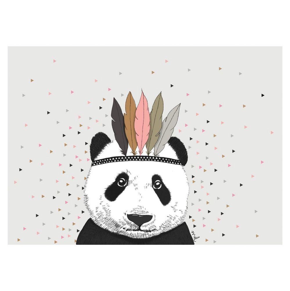 Minimel - Indian Panda and Triangles artwork - size A3