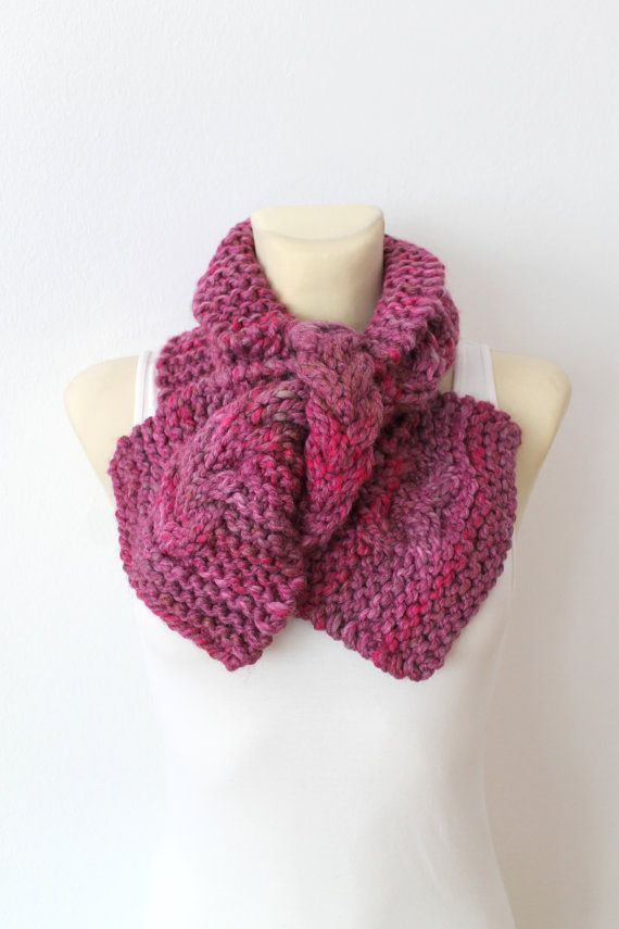 Photo of Pink Knit Infinity Scarf Chunky Knitted Snood Bulky Winter Scarves for Women Loop Circle Scarfs Soft Cozy Winter Accessories Unique gift