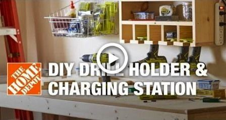 Drill Holder  Power Tool Charging Station  garage DIY Drill Holder  Power Tool Charging Station  garage  saturday morning workshop folding mobile workbench Tired of messy...