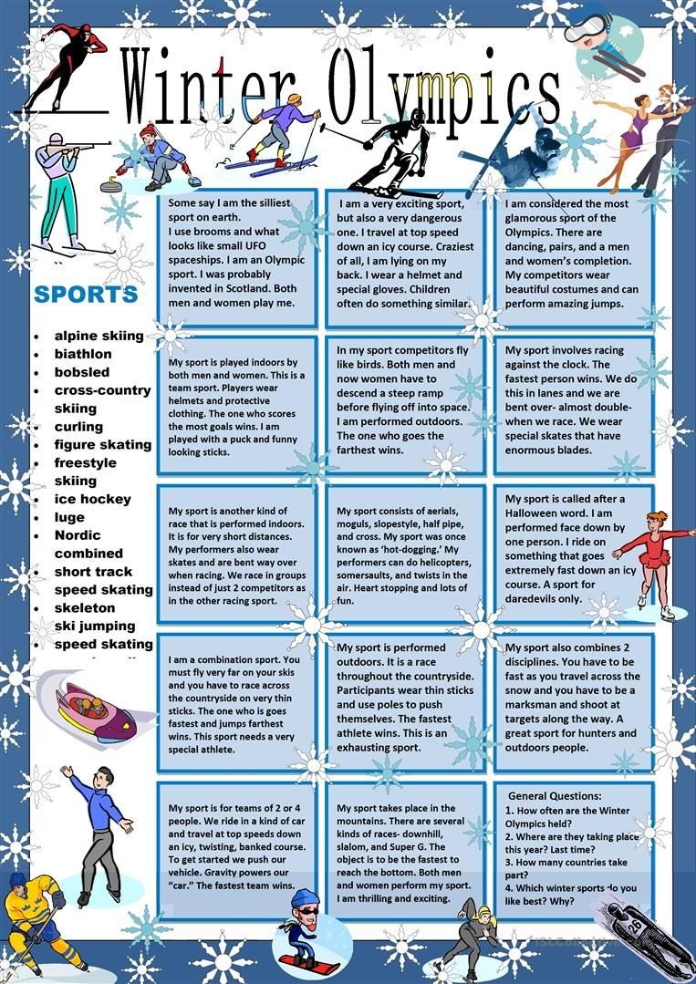 Winter Olympics Guess My Sport Worksheet Free Esl Printable Worksheets Made By Teachers English Lessons Winter Olympics Sport English