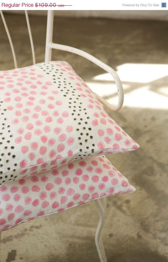 ON SALE 2 Cushion covers, pink and black pattern printed on Linen with an original design, soft colors