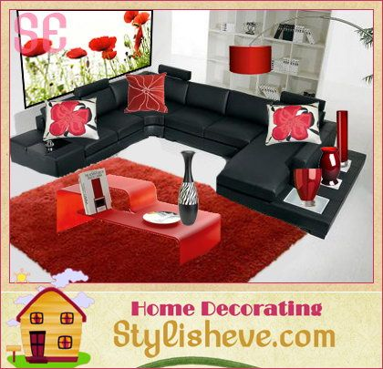 Black, White And Red Colour Scheme   Living Room