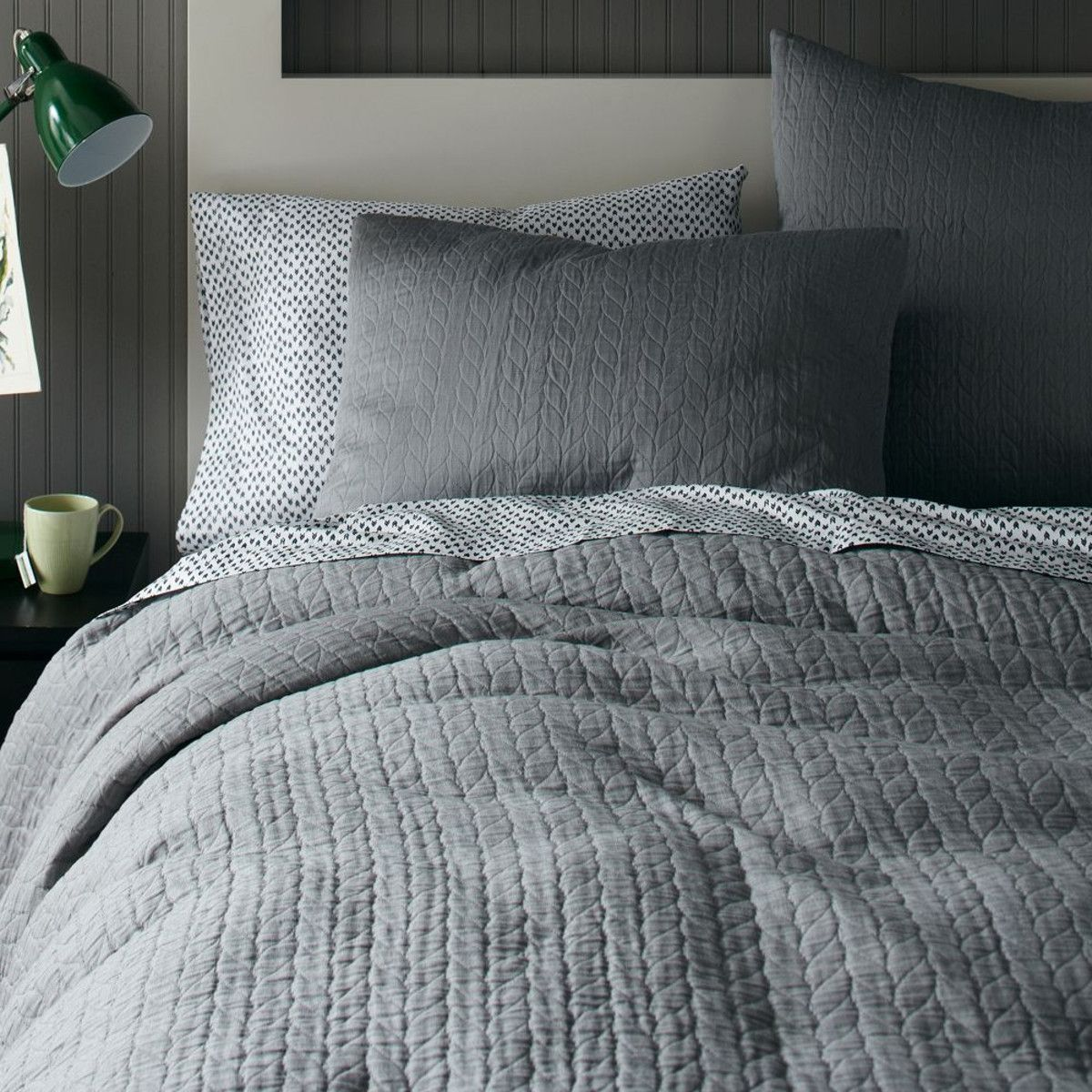Organic Braided Matelasse Quilt Cover + Shams   Feather Grey