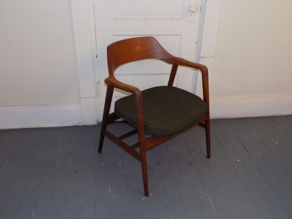 Vintage Gunlocke Chair Danish Modern Walnut Armchair Mid ...