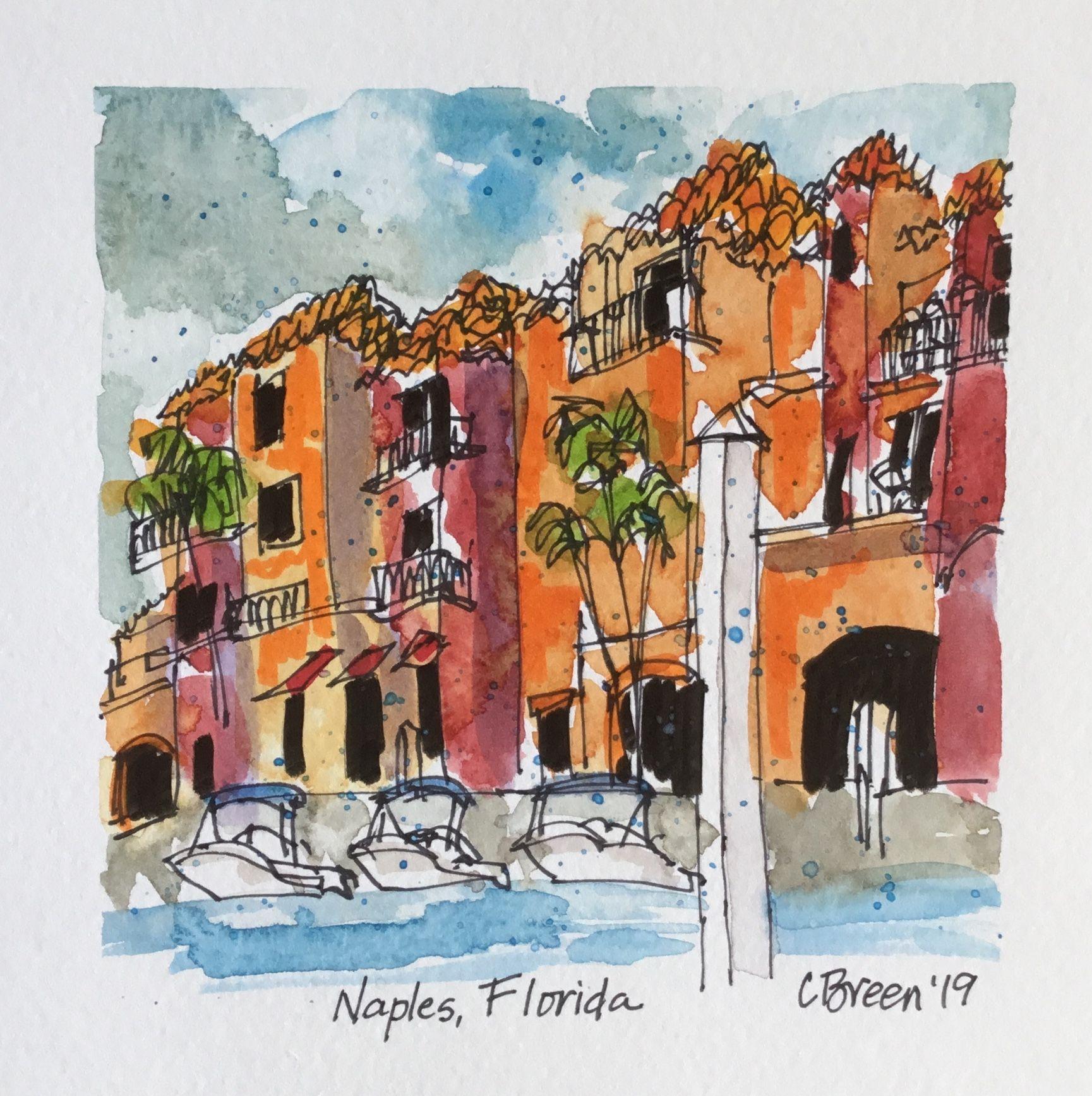 Naples Marina Florida C Breen 2019 Breenseven Urbansketch