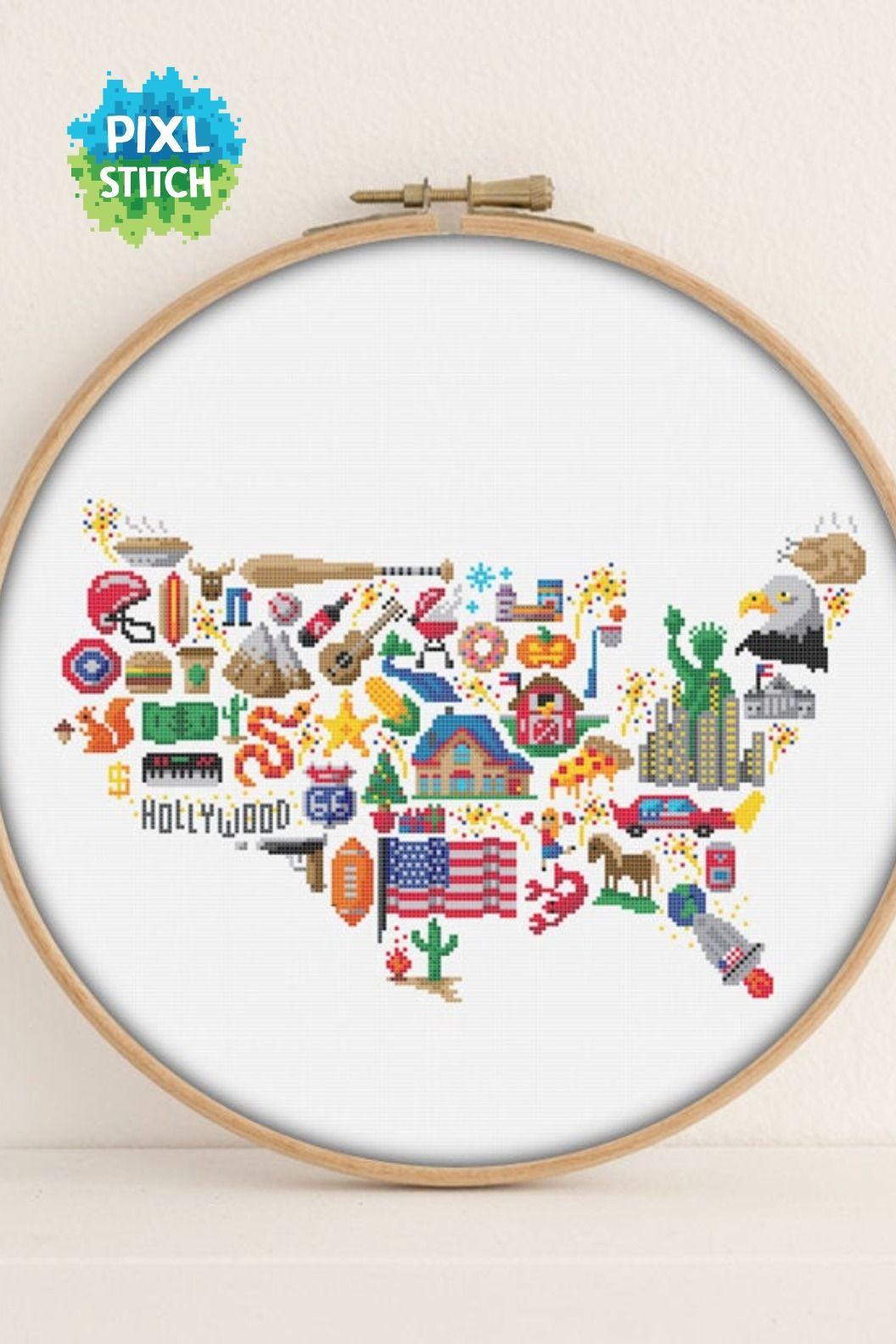 America Cross Stitch Pattern Printable Pdf Pattern America