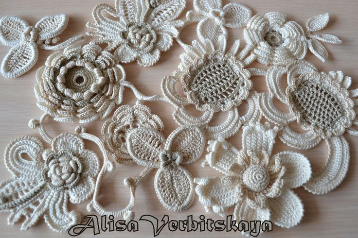 Set Flower 10pcs Crochet Flower Irish Crochet Flower Applique Irish