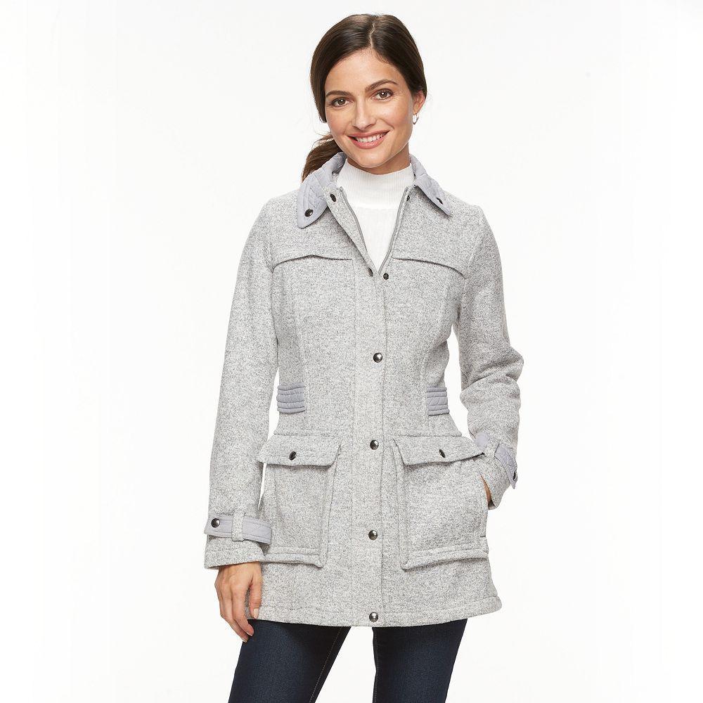 Women's Weathercast Fleece Walker Jacket, Size: Medium, Light Grey