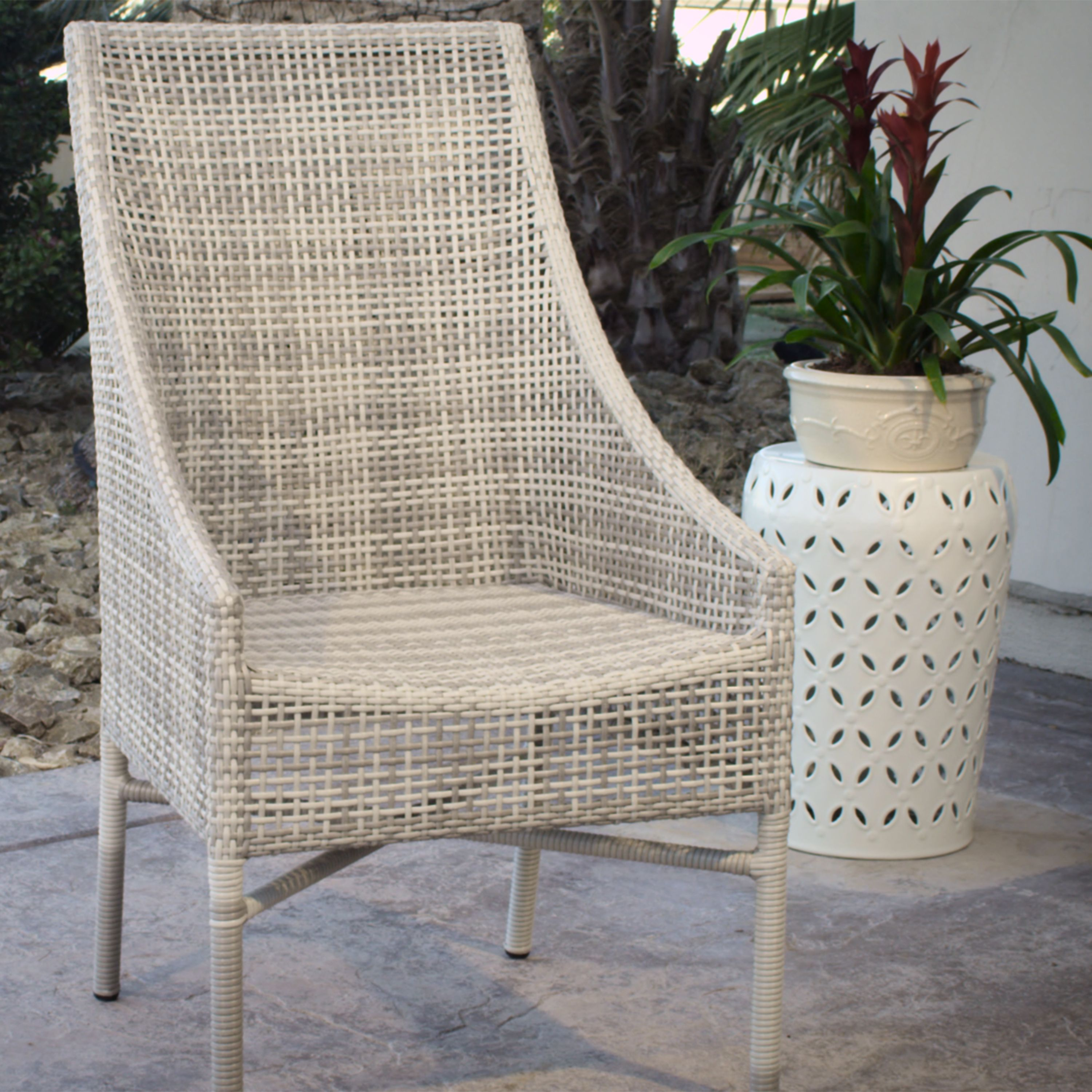 Rustic Gray All Weather Wicker Serasa Dining Chairs Set of 2