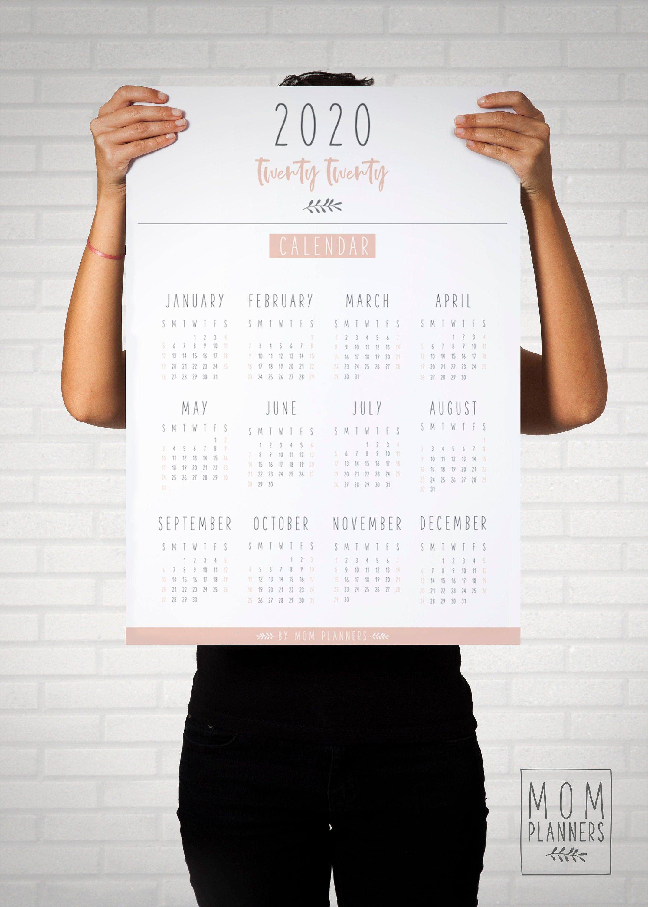 Printable 2020 Wall Calendar Poster Sizes A1 A2 A3 A4 Office Calendar Instant Download Minimalist Wall Calendar 2020 Overvie Wandkalender Kalender Wand