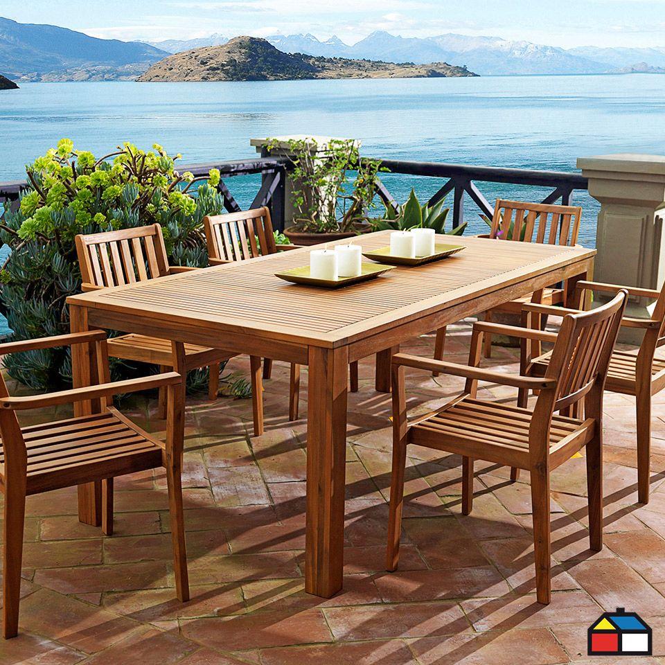 juego de terraza de madera acacia 7 piezas jardin