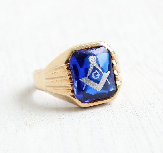Sale Vintage 10k Yellow Gold Masonic Ring 1940s Size 9 Antique Rings Vintage Masonic Ring Masonic Jewelry
