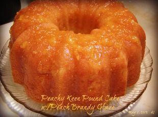 Peachy Keen Pound Cake w/Peach Brandy Glaze #peachcobblerpoundcake