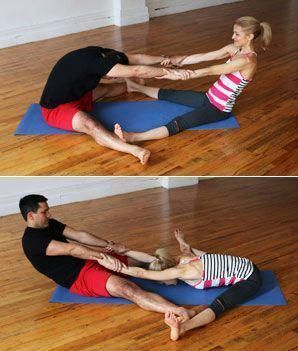 partner wideleg seated forward bend  hatha yoga poses