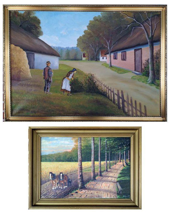 """Disse 2 dejlige malerier af den lidt ukendte maler A. Sonne har hængt hos mine bedsteforældre i Simested i deres fine stue. Heldigvis har min kusine """"savet"""" dem, da de ellers let kunne være gået tabt i forbindelse med bodeling."""